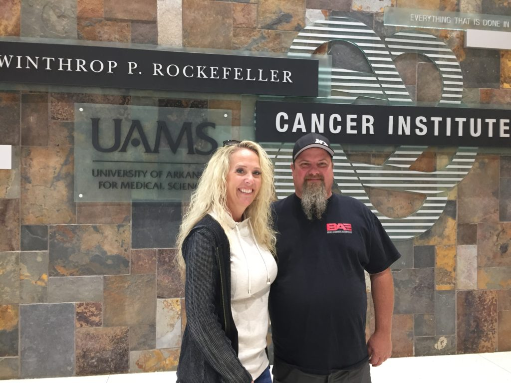"""""""I was determined to find the best place I could go for treatment,"""" said drag racer and specialty mechanic Brian Macy, 49, of Lake Havasu City, Arizona, pictured here with wife Heather."""