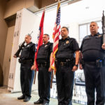 Veterans, now serving in the UAMS Police Department, served as the color guard for a flag ceremony to open the Veterans Day luncheon.