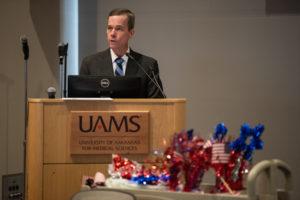 UAMS Chancellor Cam Patterson, M.D., MBA, speaks during the celebration.