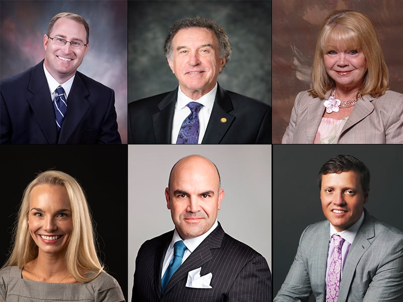 Newly elected UAMS Winthrop P. Rockefeller Cancer Institute Advisory Board members are (clockwise from top left): Drew Chandler, Robert S. Moore Jr., Cindy Murphy, Rachel Parker Harding, Joe Clay Young IV and Win Rockefeller Jr.