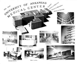 A photographic montage from 1957 advertises the amenities of the new UAMS Medical Center.