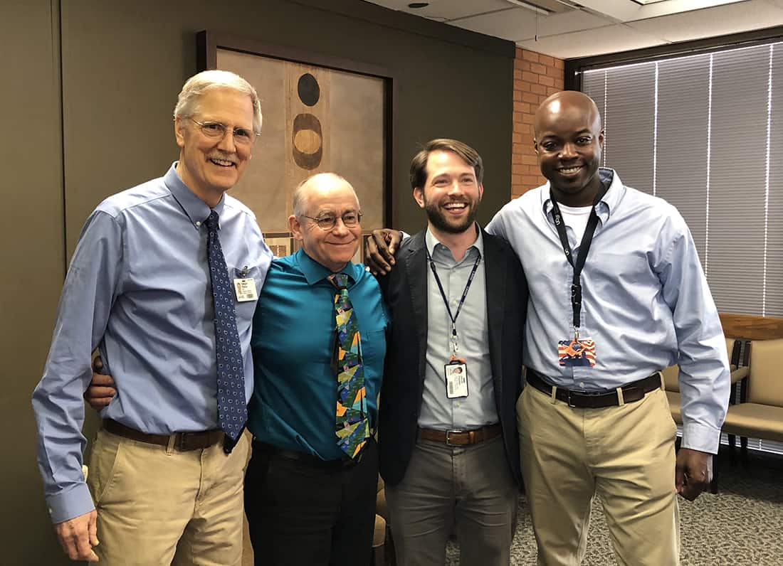 The College of Pharmacy recently celebrated the promotions of Dwight Pierce, left, Eddie Dunn, Jacob Painter and Antino Allen.