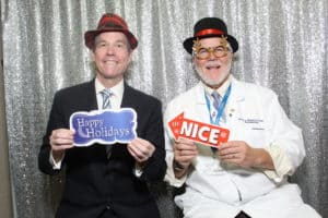 Chancellor Cam Patterson, M.D., MBA, and Robert McGehee, Ph.D., dean of the Graduate School, enjoy some laughs in the photo booth.