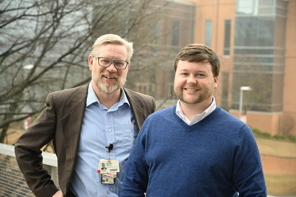 Brad Martin, left, and Corey Hayes recently had their research into the effectiveness and risks associated with increasing the opioid dosage a patient receives published in two scientific journals.