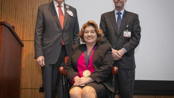 Overton-McCoy was presented with a commemorative medallion by UAMS Chancellor Cam Patterson, M.D., MBA and Christopher T. Westfall, M.D., executive vice chancellor and College of Medicine dean.