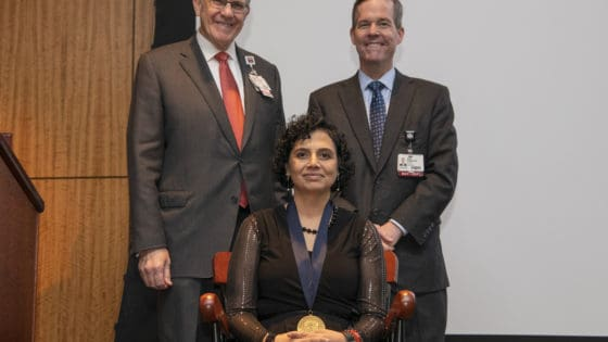 Mendiratta was presented with a commemorative medallion by UAMS Chancellor Cam Patterson, M.D., MBA, and Christopher T. Westfall, M.D., executive vice chancellor and College of Medicine dean.