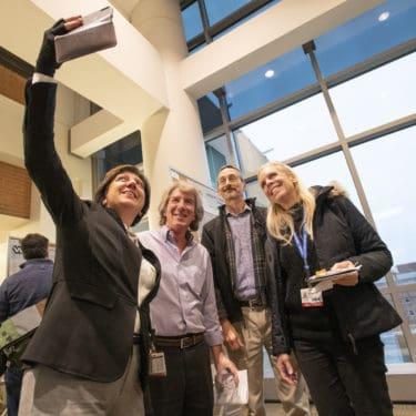 Researchers taking selfie