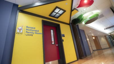 The entrance to the new 2,000-square-foot Ronald McDonald Family Room on the fifth floor of UAMS Medical Center.