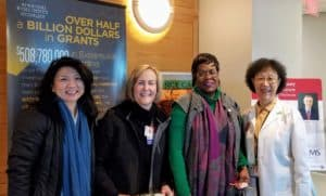 Sharon Flynn, Suzanna Carlisle, Priscilla Newman and Shuk-mei Ho, Ph.D., vice chancellor of research & innovation, distributed drink cards in the BioMed buildings on Wednesday as part of Kindness Week.