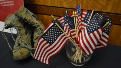 A patriotic display celebrates active duty and veteran students and employees during the annual Veterans Celebration at UAMS.