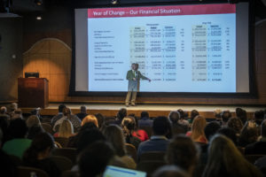 UAMS is $11 million ahead of budget this fiscal year, Patterson tells employees.