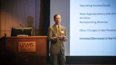 Chancellor Cam Patterson, M.D., MBA, tells employees UAMS has turned a financial corner during his State of the University address Feb. 13.