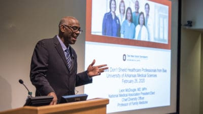 Leon McDougle, M.D., M.P.H., chief diversity officer and professor at the Ohio State University Wexner Medical Center, presents at UAMS on Feb. 26.