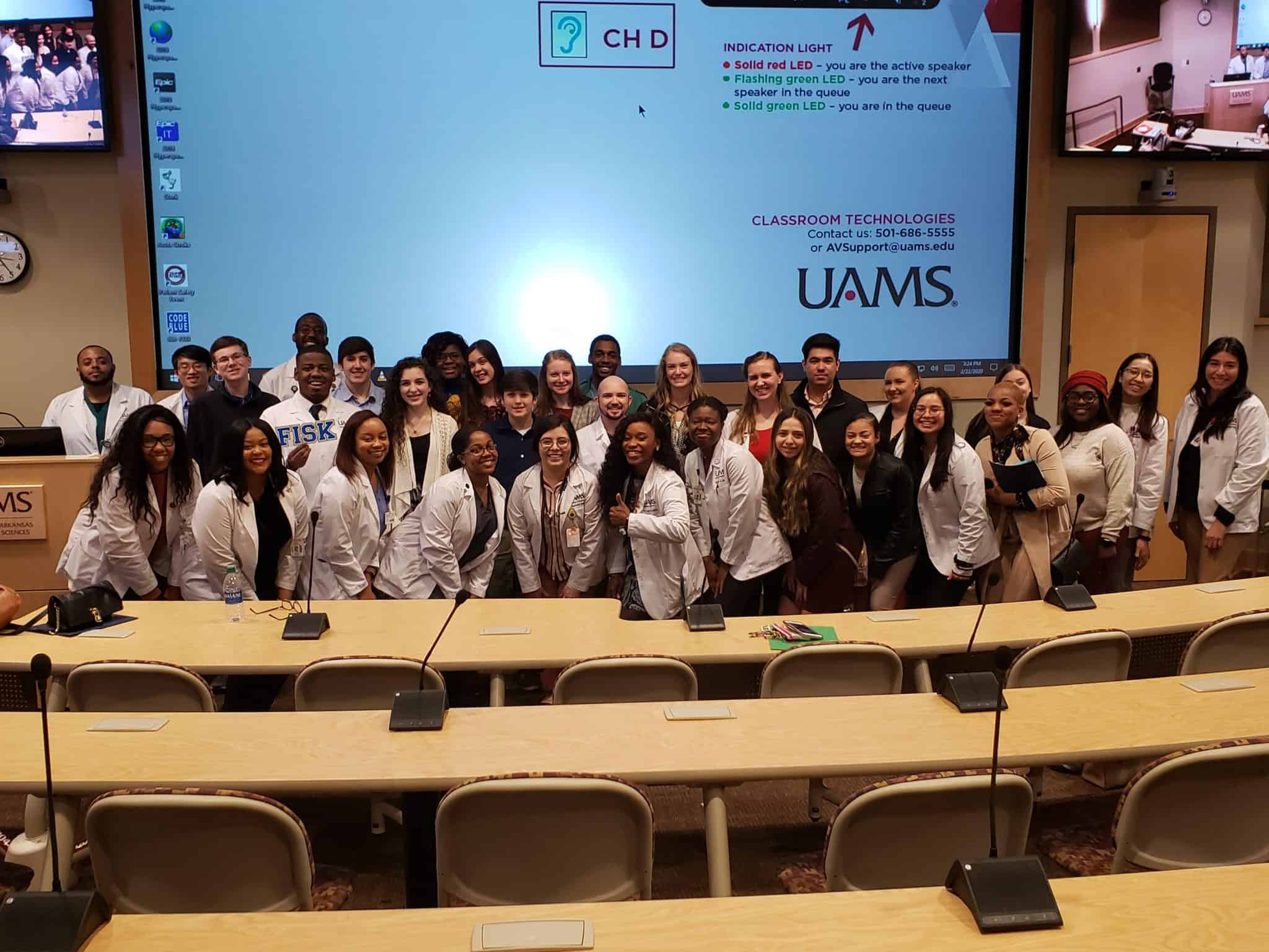 Visiting high school and UAMS medical students gather for a photo during the HPREP event.