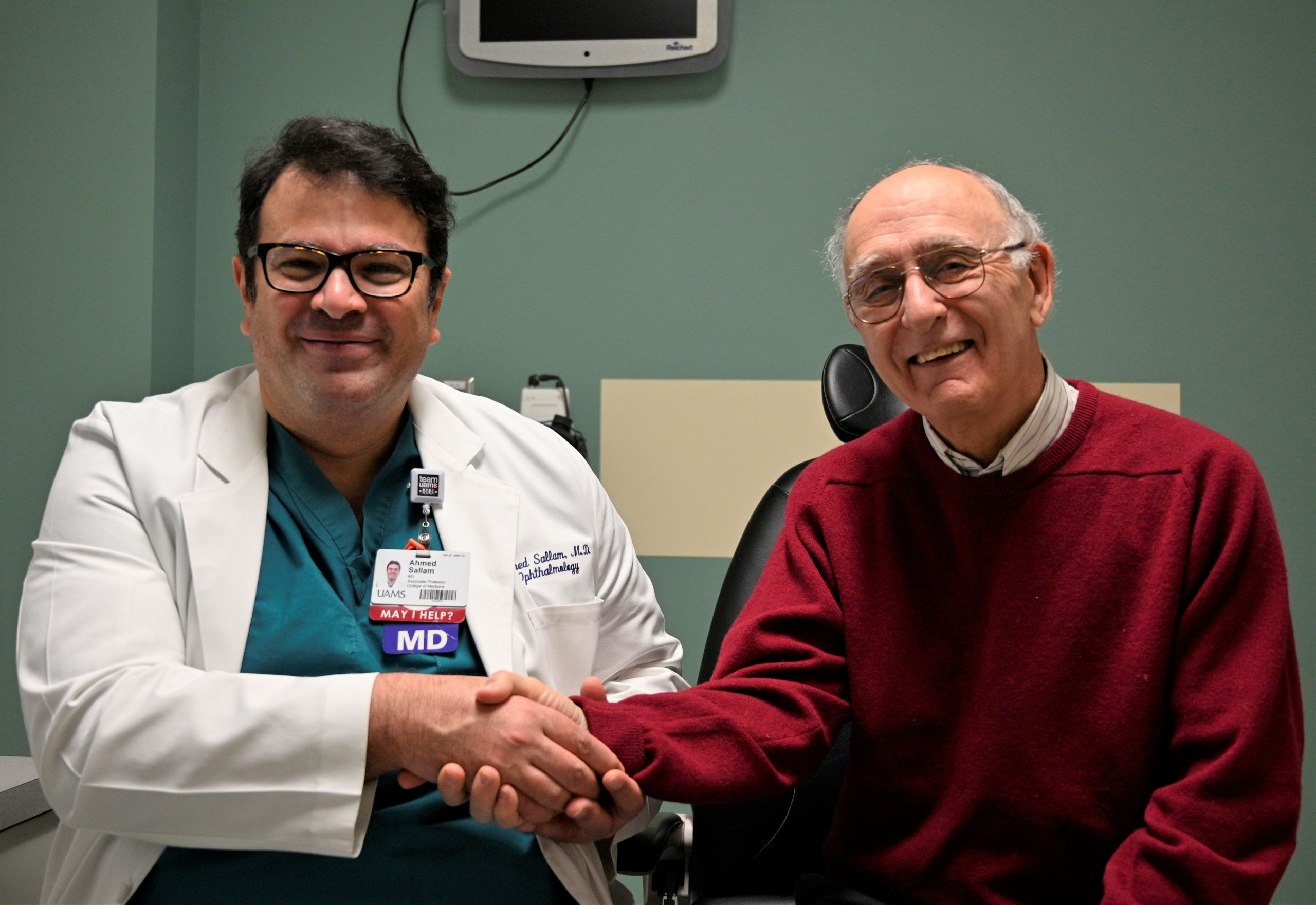 Ahmed Sallam, M.D., Ph.D., and patient Jim Winter.