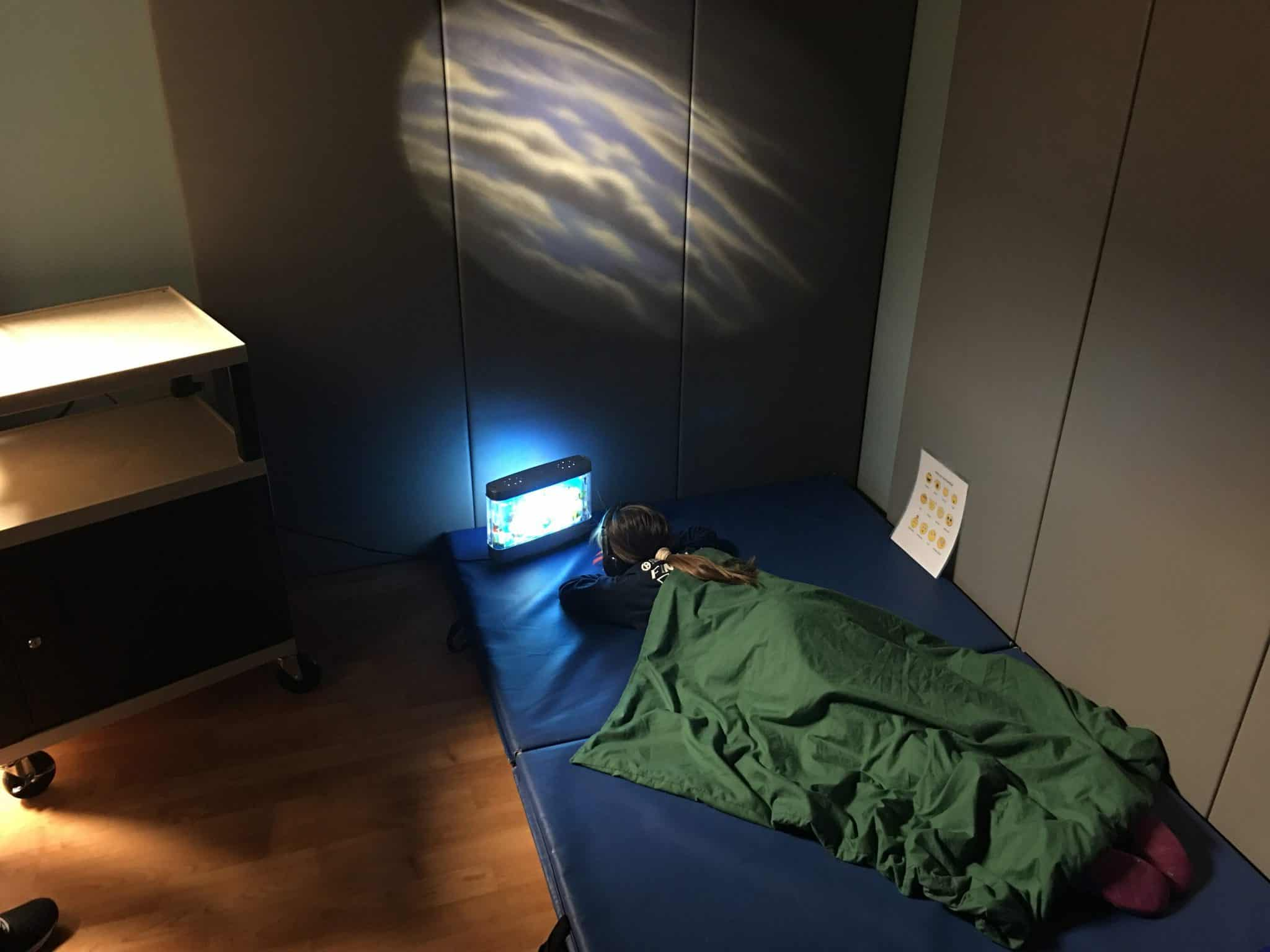 Patient uses sensory deprivation room