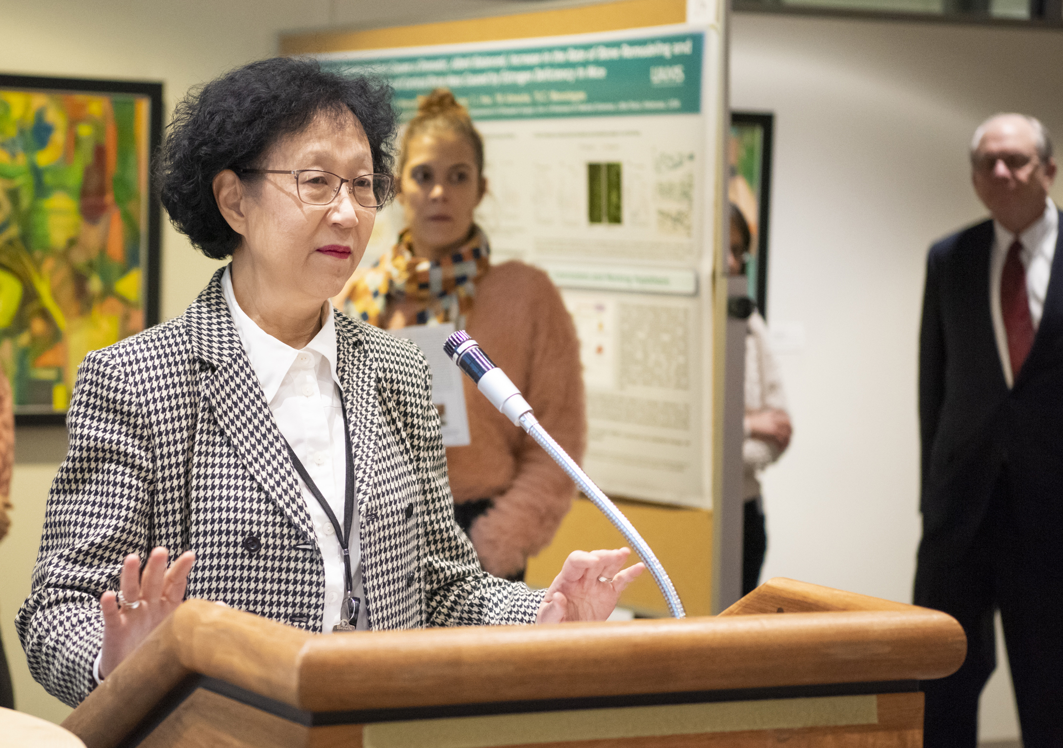 Shuk-Mei Ho, Ph.D., UAMS Vice Chancellor for Research and Innovation (above, file photo), and Laura James, M.D., director of the UAMS Translational Research Institute, announced the inaugural class of Research Academy Scholars.
