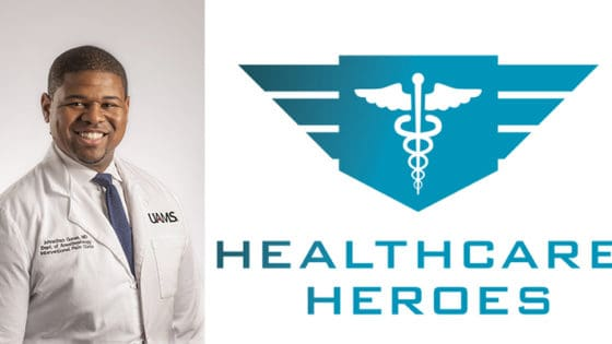 Dr. Goree with Healthcare Heroes Logo