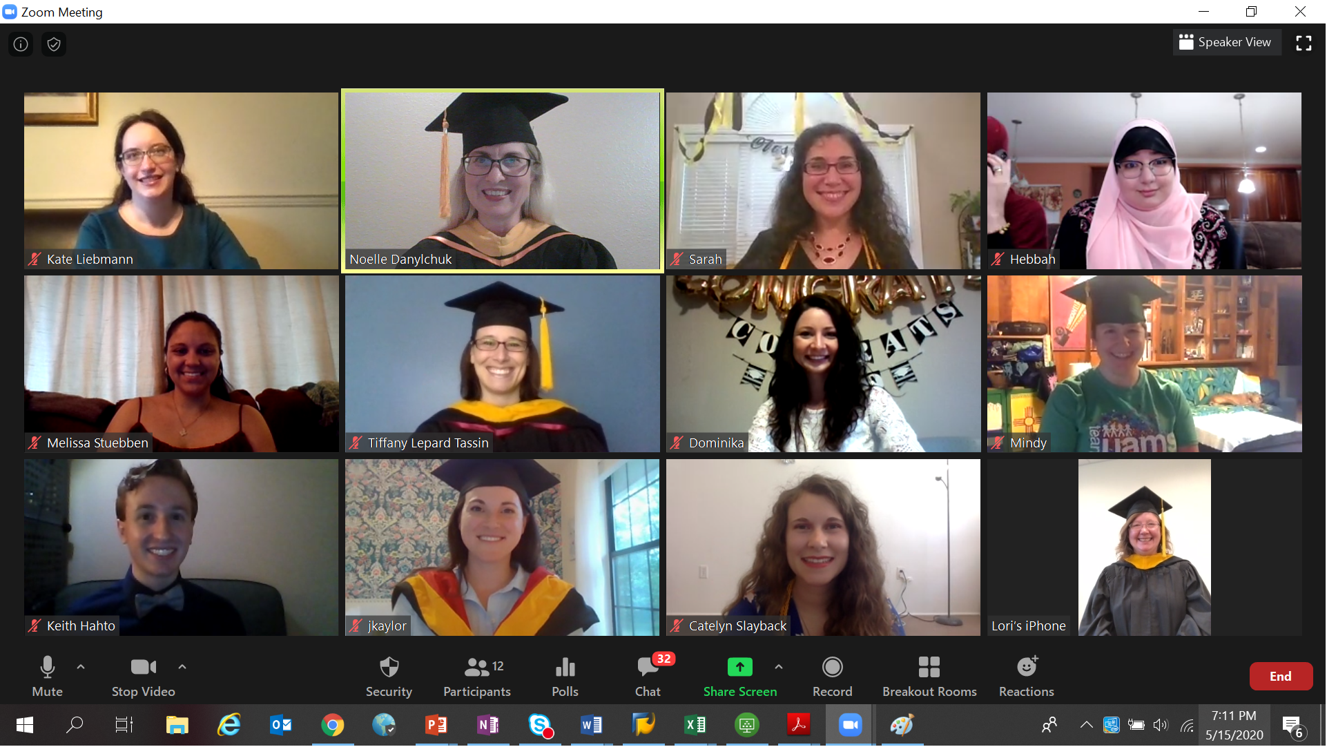 Members of the genetic counseling class of 2020 gather for a virtual celebration led by department chair Noelle Danylchuk, M.S.