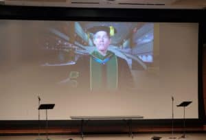 UAMS Chancellor Cam Patterson, M.D., MBA, delivers a video address at the College of Nursing virtual pinning ceremony, one of several graduation-related virtual celebrations.