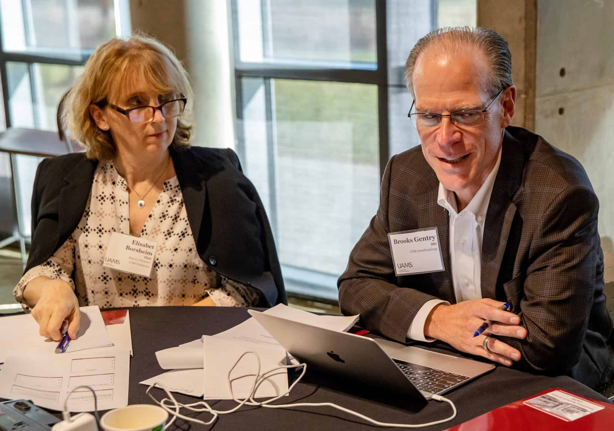 Elisabet Borsheim, Ph.D., and Brooks Gentry, M.D., co-leaders of the KL2 Program, here at the UAMS Translational Research Institute's fall 2019 Planning Retreat.