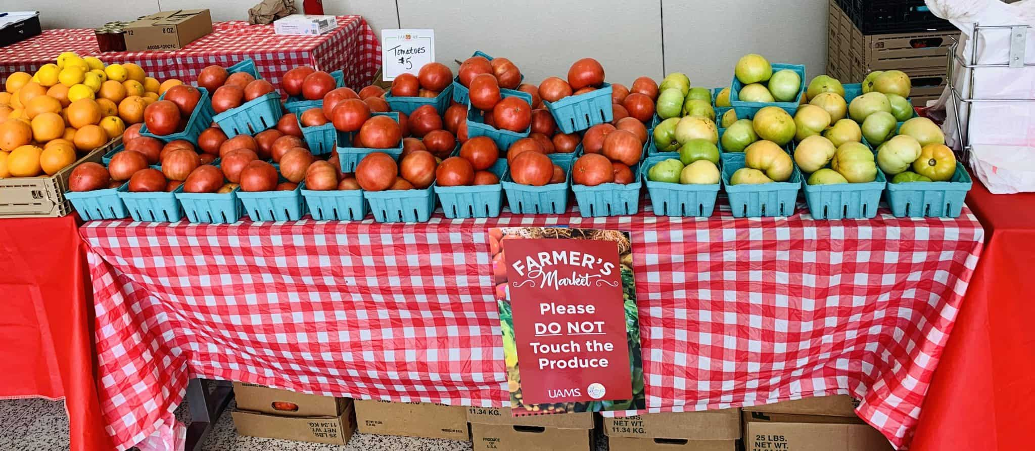 A variety of fruits and vegetables are available for purchase at the Farmers Market.