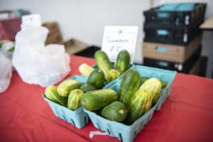 The Farmers Market gives employees and students a convenient way to purchase fresh fruits and vegetables.