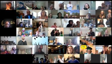 Participants in Zoom meeting clapping