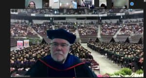 Dean Robert McGehee, Ph.D., leads a virtual celebration for the UAMS Graduate School.