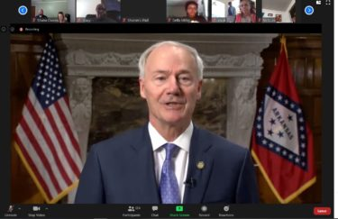 The governor in Zoom screen grab