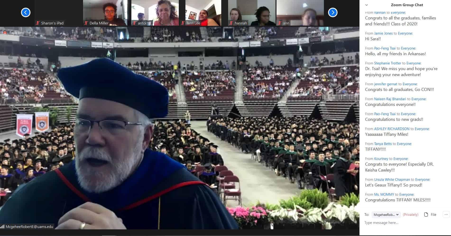 Screen shot of Dr. McGehee at virtual hooding