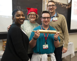 intern with golden rolling pin