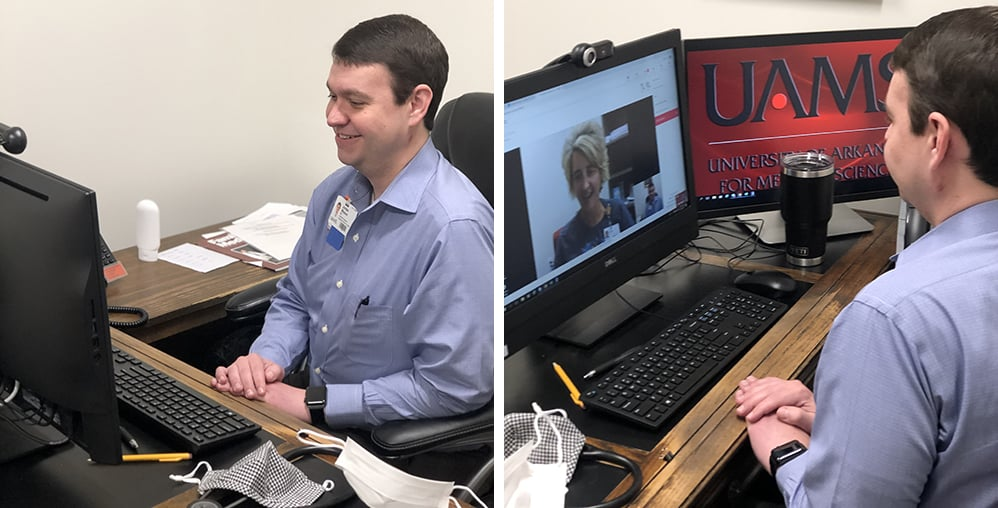 Jordan Weaver, M.D., uses a digital health video connection to talk to a colleague. Weaver helped lead the digital health effort at the UAMS Family Medical Center in Batesville.