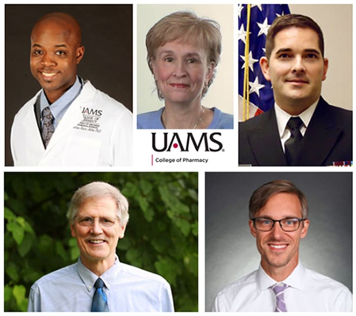 College of Pharmacy faculty who received awards for teaching this year are, top row, left to right, Antino Allen, Melanie Reinhardt and Grant McElwee; bottom row, left to right, Dwight Pierce and David Caldwell.