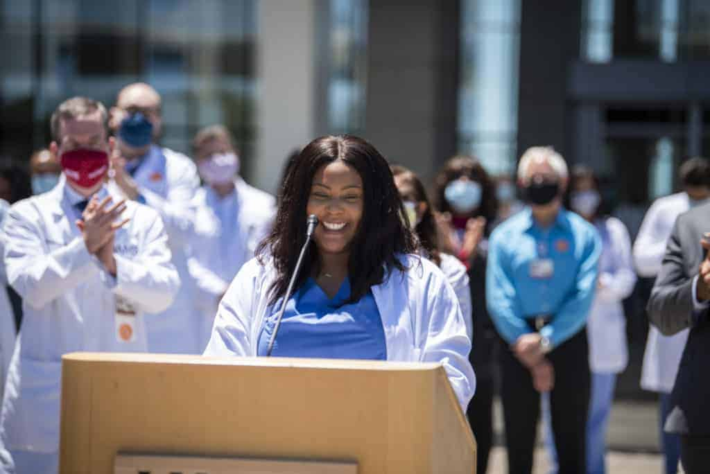 Natasha Thompson, a medical student and president of the UAMS Dr. Edith Irby Jones chapter of the Student National Medical Association, speaks at White Coats for Black Lives on June 11. Thompson helped organize a student town hall on diversity for the College of Medicine on July 7.