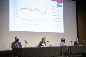 Chief Financial Officer Amanda George (second from left) reports that UAMS finished the 2020 fiscal year with a loss of $13.7 million.