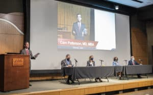 Patterson (left) invited four members of his Cabinet to present at the Aug. 12 Town Hall. They are (from left) Michael Birrer, M.D., Ph.D.; Amanda George, M.H.S.A., CPA; Danielle Lombard-Sims, Ph.D.; and Mark Williams, Ph.D.