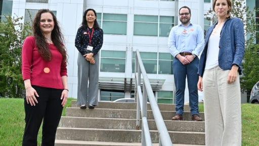 The four new COBRE researchers are, left to right, Amanda Stolarz, Ping-Ching Hsu, Brendan Frett and Caroline Schinke.