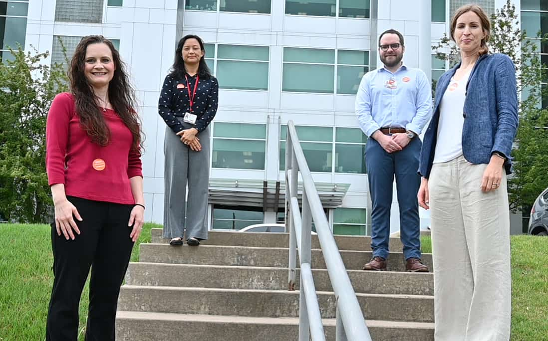 The four new COBRE researchers are, left to right, Amanda Stolarz, Ping-Ching Hsu, Brendan Frett and Caroline Schinke.