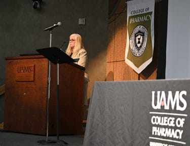 College of Pharmacy Dean Cindy Stowe addresses students and families listening in and participating in the Class of 2024 Virtual White Coat Ceremony.