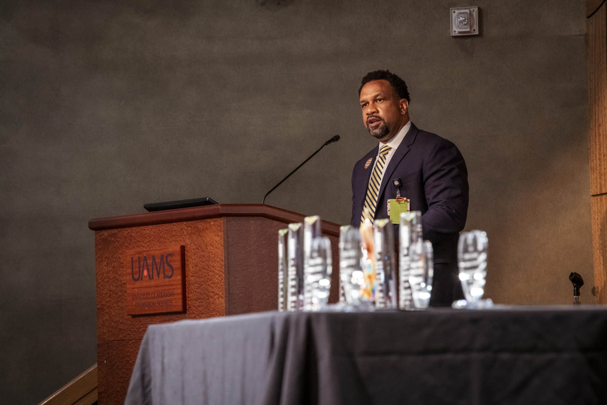 Brian Gittens, Ed.D., vice chancellor for diversity, equity and inclusion, delivers his State of Diversity and Inclusion address, with the Dr. Edith Irby Jones Excellence in Diversity and Inclusion Awards in the foreground.