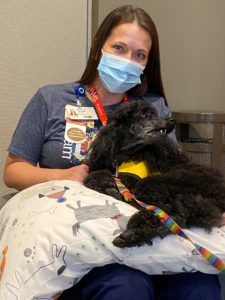 Summer Tacket holds Tula for some pets during pet therapy.