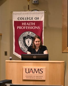 Alicia Leverette, M.S.P.A.S., PA-C, a physician assistant at the UAMS Psychiatric Research Institute, delivered the keynote address. She urged the Class of 2022 to remember that patients are more than a diagnosis.