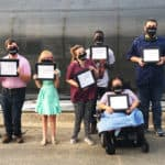 Graduates from the Project Search Class of 2020 at UAMS are, right, Tyler Barrett, Dutch Leger, Vanessa Provence, Heather Keister, Jaden Jackson, Madai Lopez Robles, Nathan Burroughs, and Hunter Hatchett. Graduates Jeremy Acord, Alec Layland, Stephan Rauhofer, and Myia Walker were unable to be in the photo.