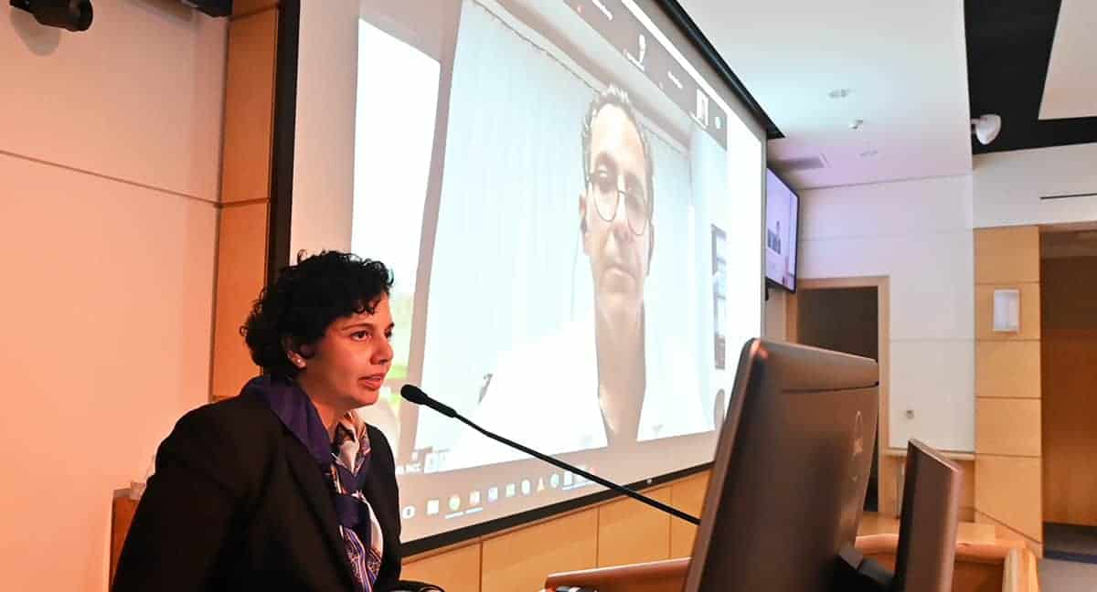 Priya Mendiratta, M.D., left, moderates a question-and-answer session with keynote speaker Joel Kahn, M.D., during the Geriatric Update and Long-term Care Conference. The conference was virtual this year.