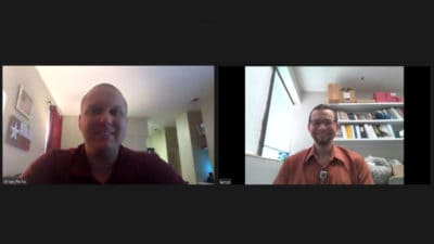 Brian Parks and Lance Benson at a virtual meeting for the scholarship recipients.