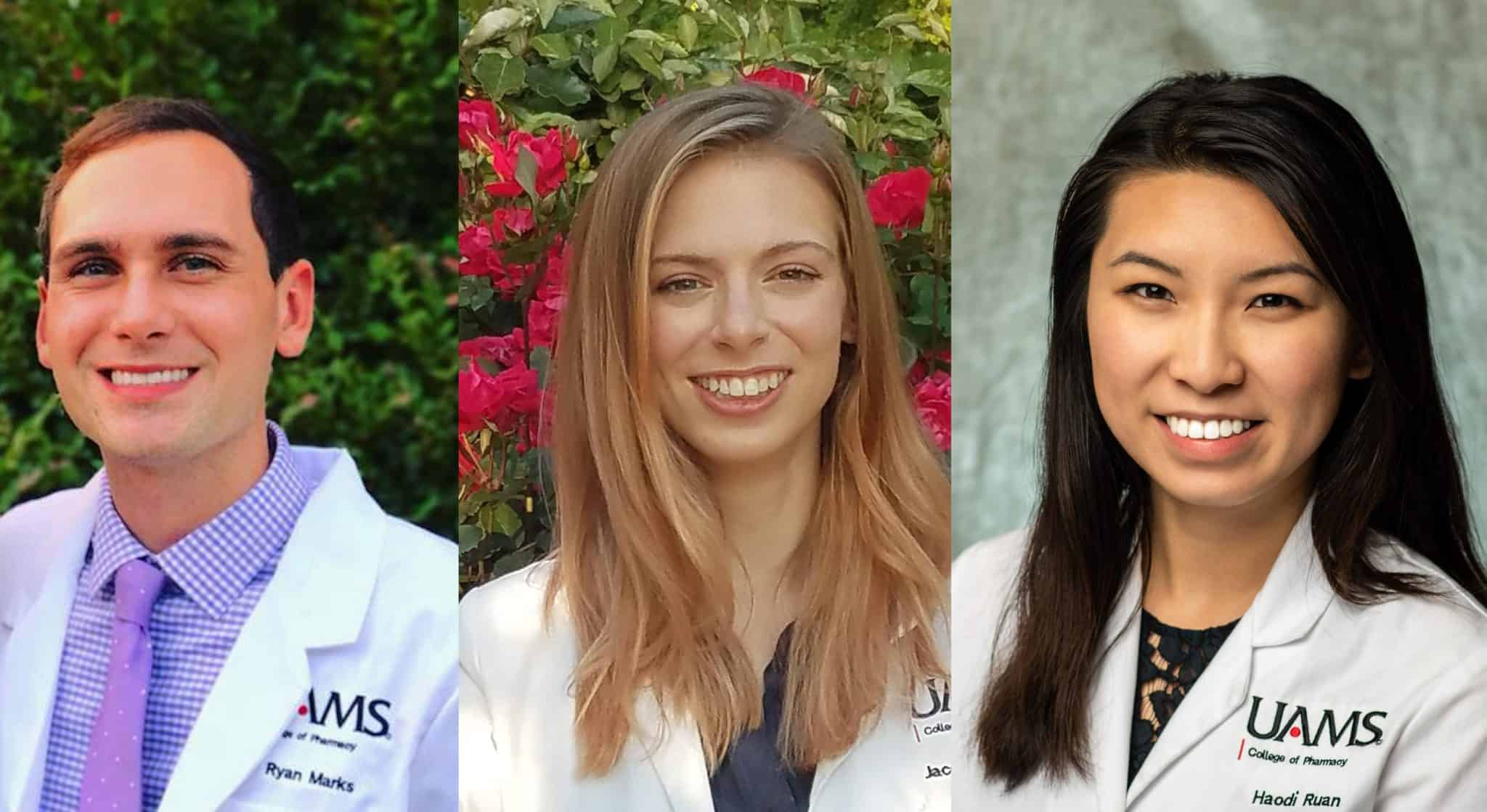 Team members (from left) Ryan Marks, Jacqueline Dodwell and Haodi Ruan competed in the American College of Clinical Pharmacy's Clinical Pharmacy Challenge.