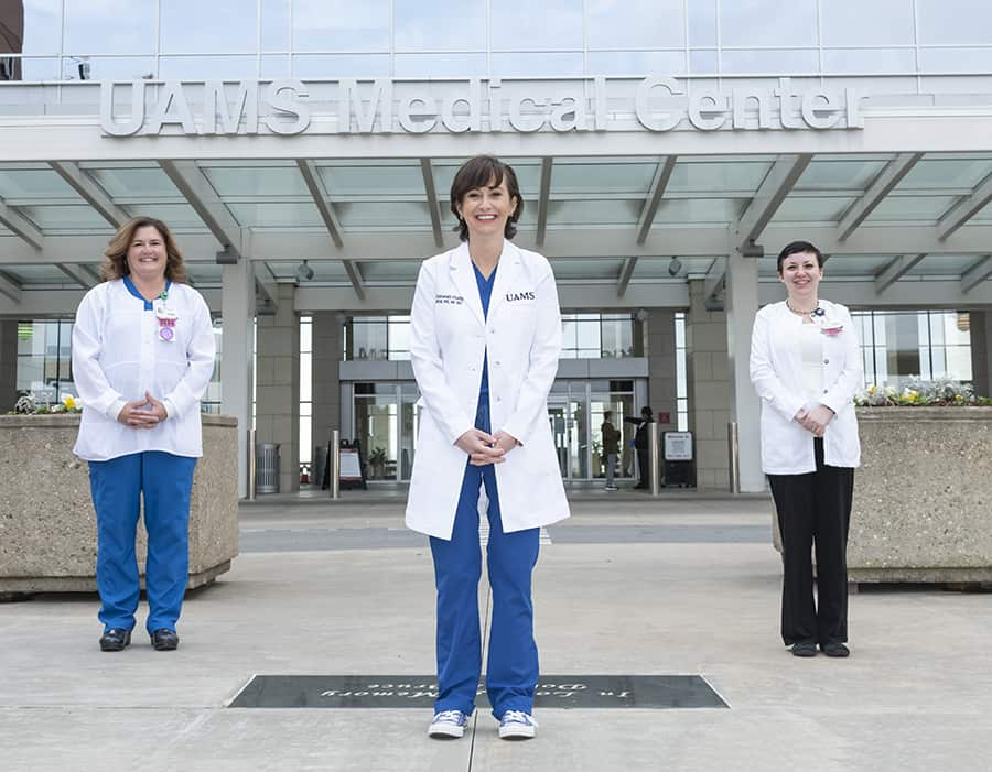 The nurses on the COVID Triage Team who designed the awardi-winning screening process are: Sherri Traffanstedt, RN., left; Deborah Hutts, M.S.N., RN, center; and Rebeca Bryan, RN.