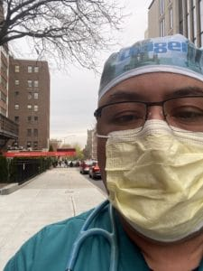 Henry Campbell-Gomez, R.R.T., was one of the UAMS respiratory therapists who traveled to New York City in April to help with COVID-19 patients.