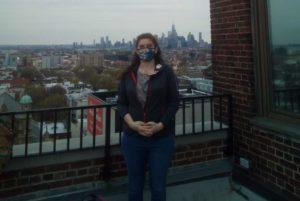 UAMS respiratory therapist Tina Patton on the roof of New York-Presbyterian Brooklyn Methodist Hospital.